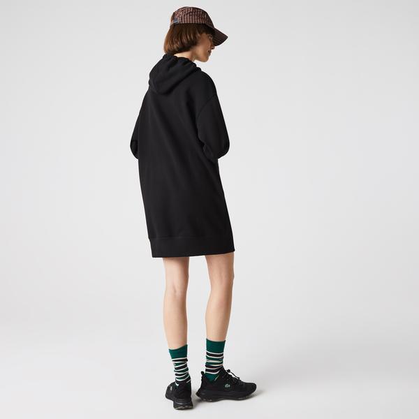 Lacoste L!VE Kadın Loose Fit Uzun Kollu Kapüşonlu Oversize Siyah Elbise