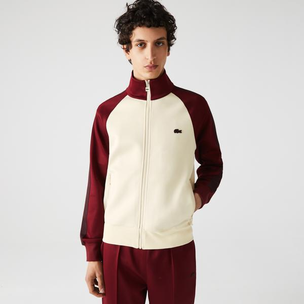 Lacoste Erkek Classic Fit Fermuarlı Renk Bloklu Ekru Sweatshirt