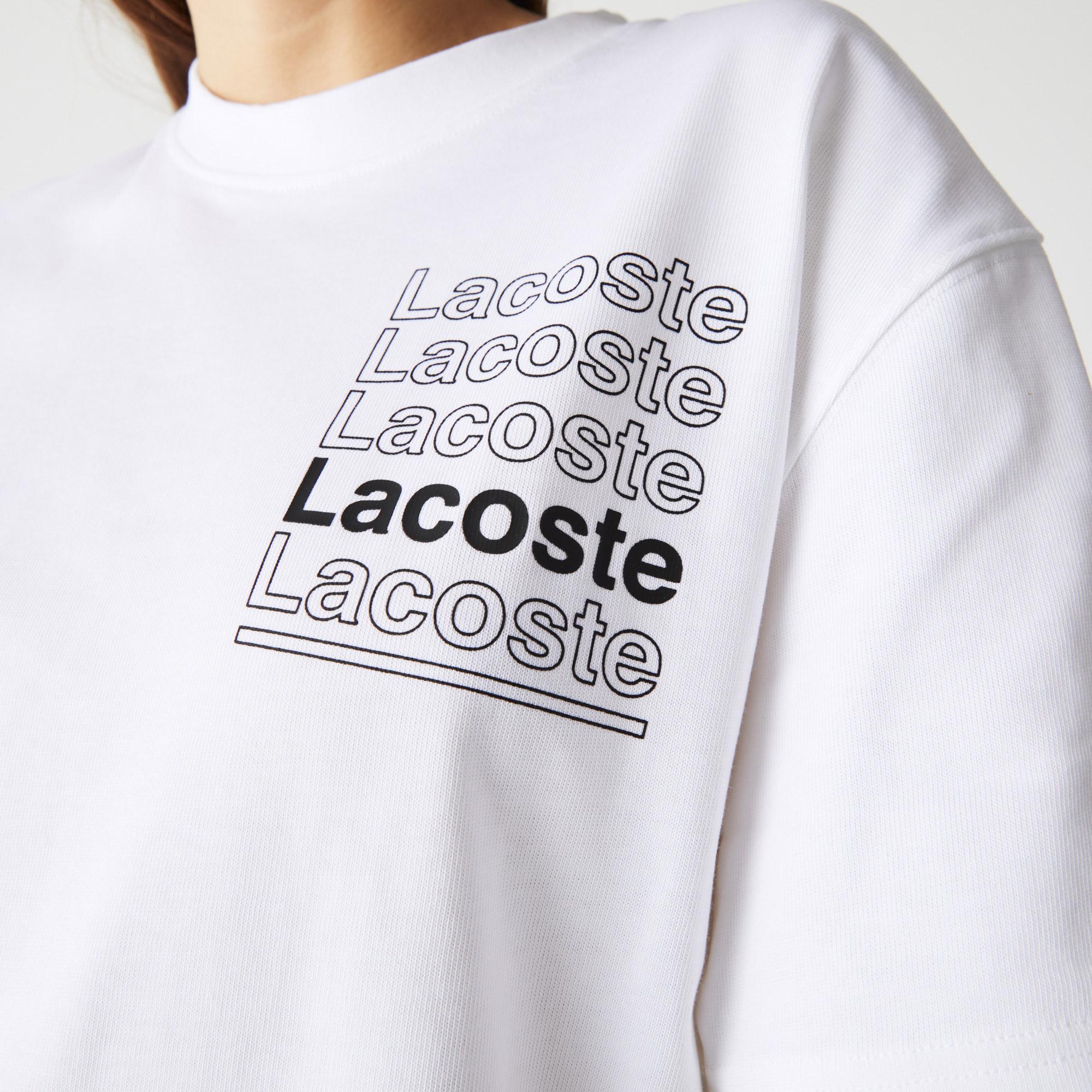Lacoste L!VE Kadın Boxy Fit Bisiklet Yaka Baskılı Beyaz T-Shirt