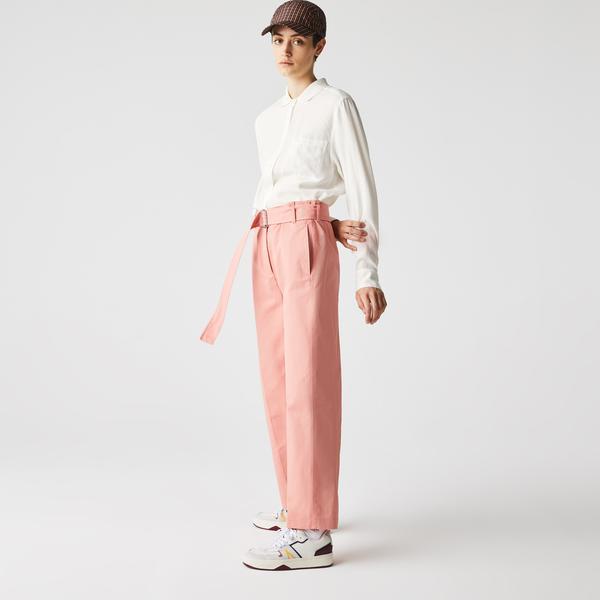 Lacoste Kadın Relaxed Fit Polo Yaka Beyaz Gömlek