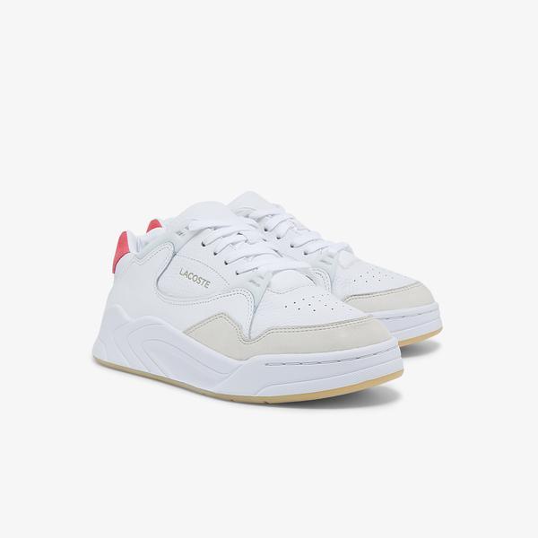 Lacoste Court Slam 0121 1 Sfa Kadın Deri Beyaz - Pembe Sneaker