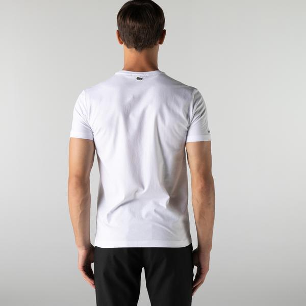 Lacoste Erkek Slim Fit Bisiklet Yaka Baskılı Beyaz T-Shirt