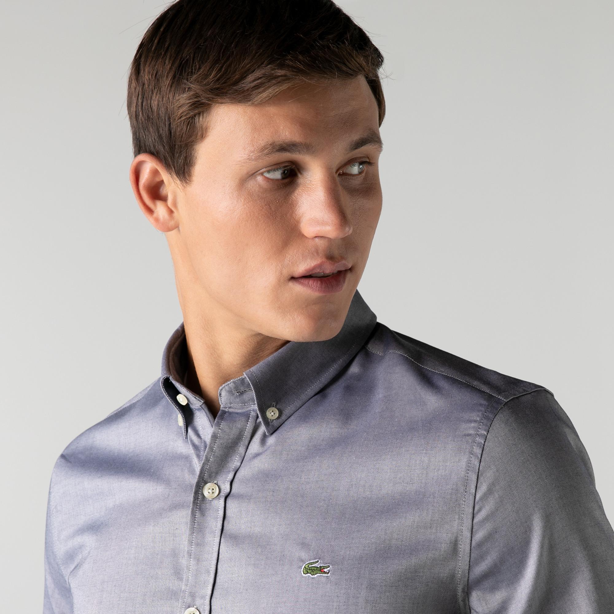 Lacoste Erkek Slim Fit Kısa Kollu Gri Gömlek