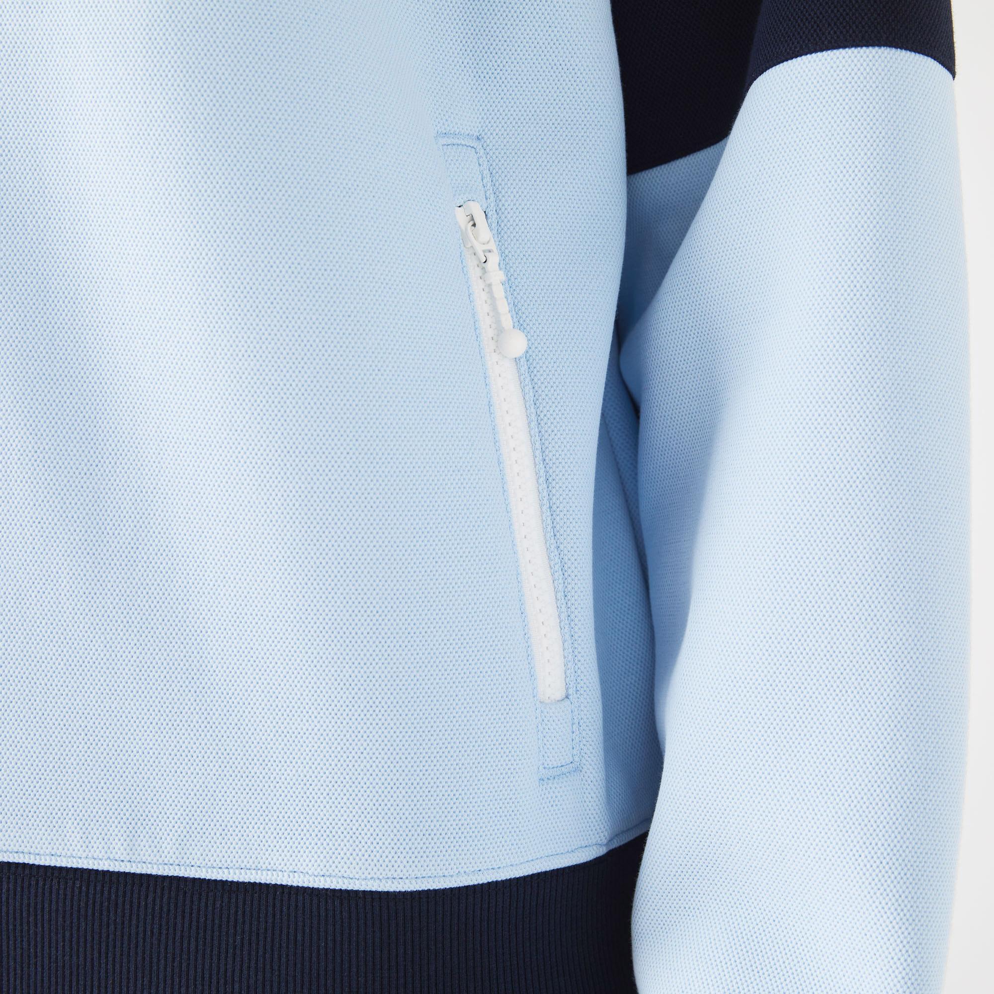 Lacoste Heritage Erkek Classic Fit Fermuarlı Renk Bloklu Mavi Sweatshirt