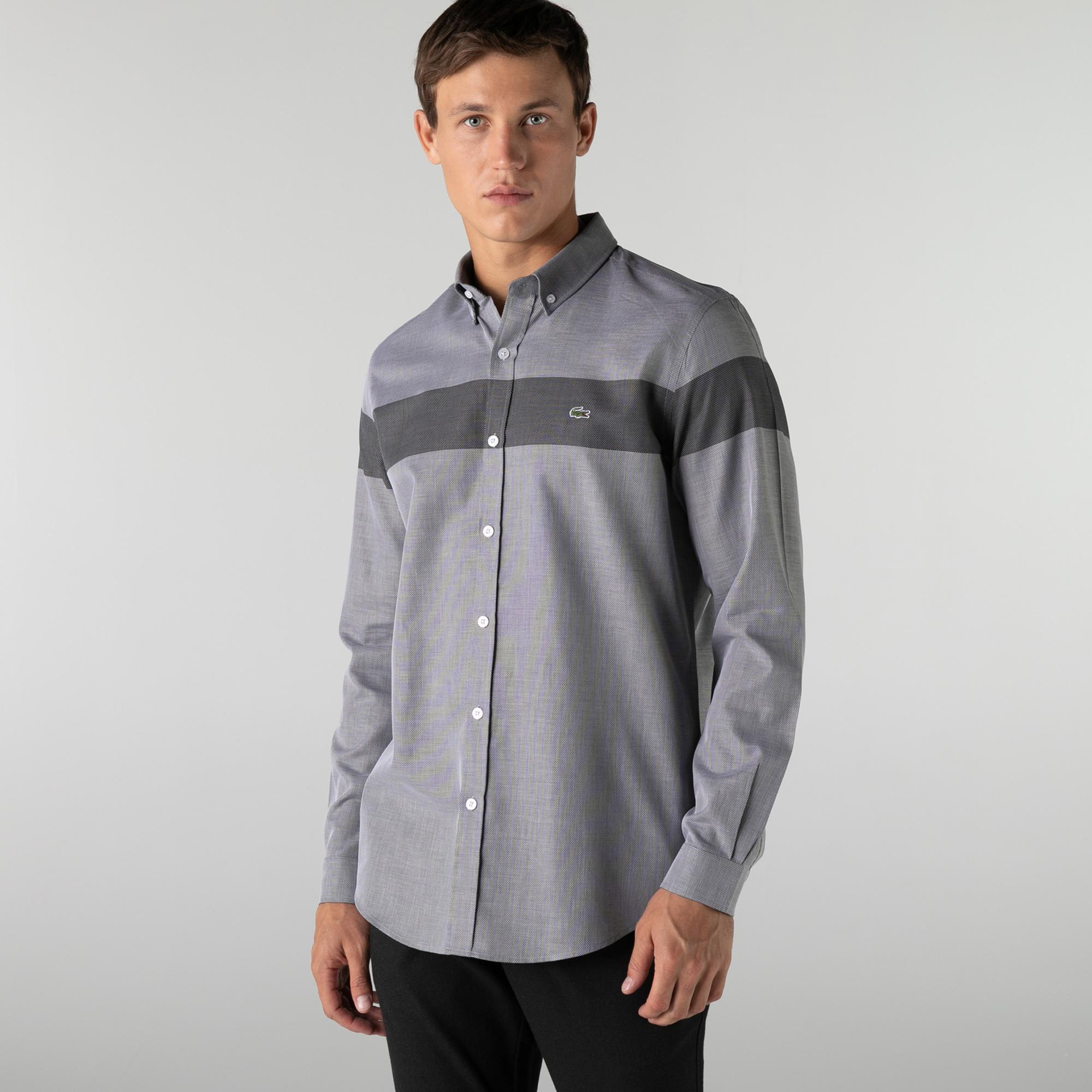 Lacoste Erkek Regular Fit Renk Bloklu Gri Gömlek