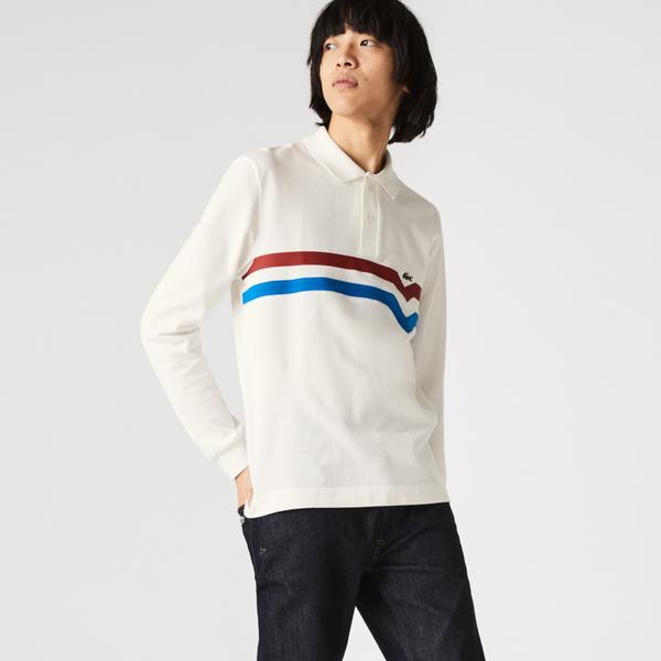 Lacoste Erkek Regular Fit Uzun Kollu Çizgili Beyaz Polo