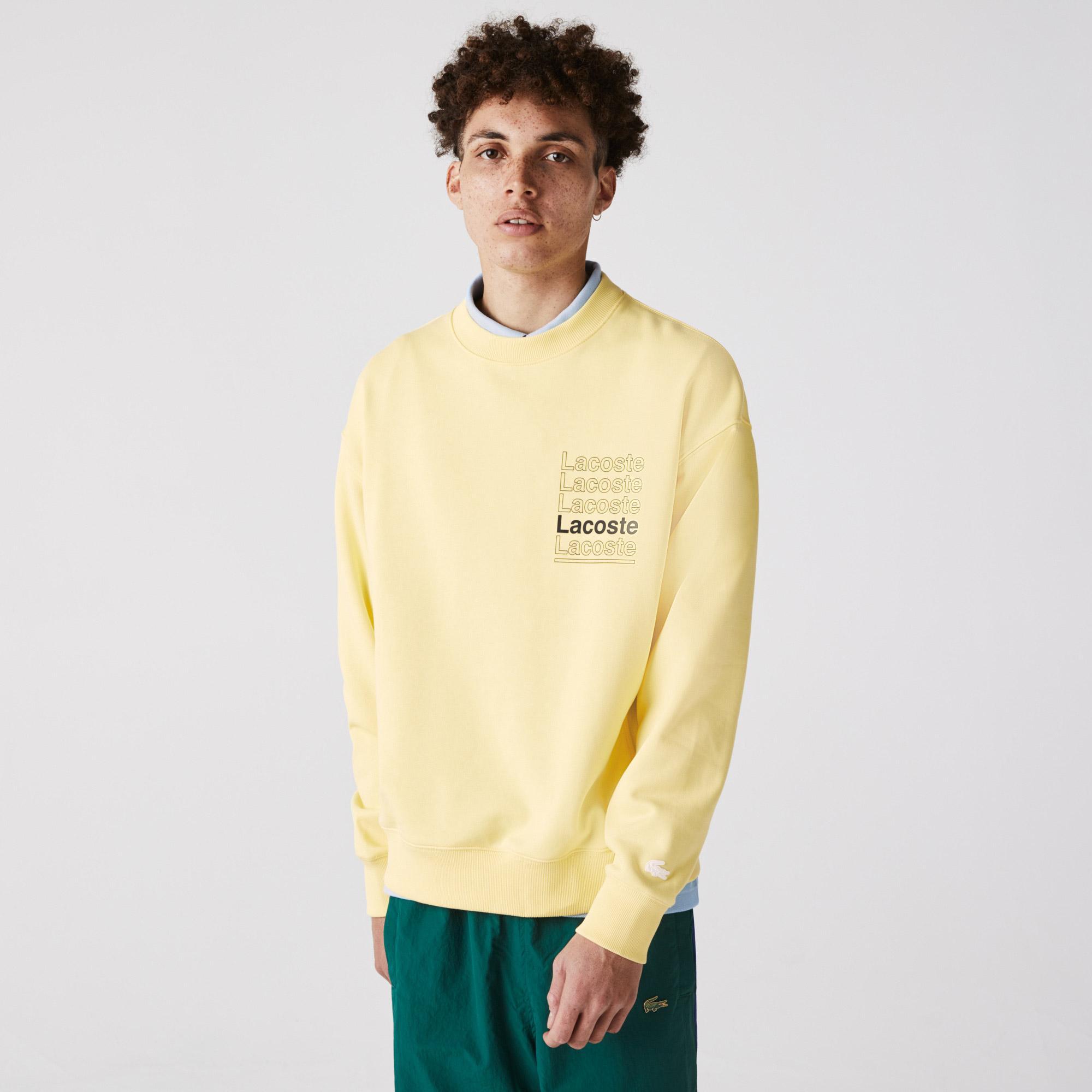 Lacoste L!VE Erkek Loose Fit Bisiklet Yaka Baskılı Sarı Sweatshirt
