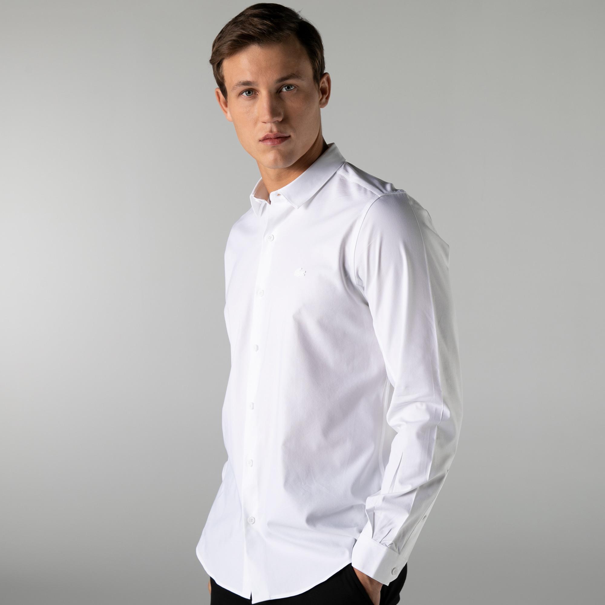 Lacoste Erkek Düğmeli Yaka Beyaz Gömlek
