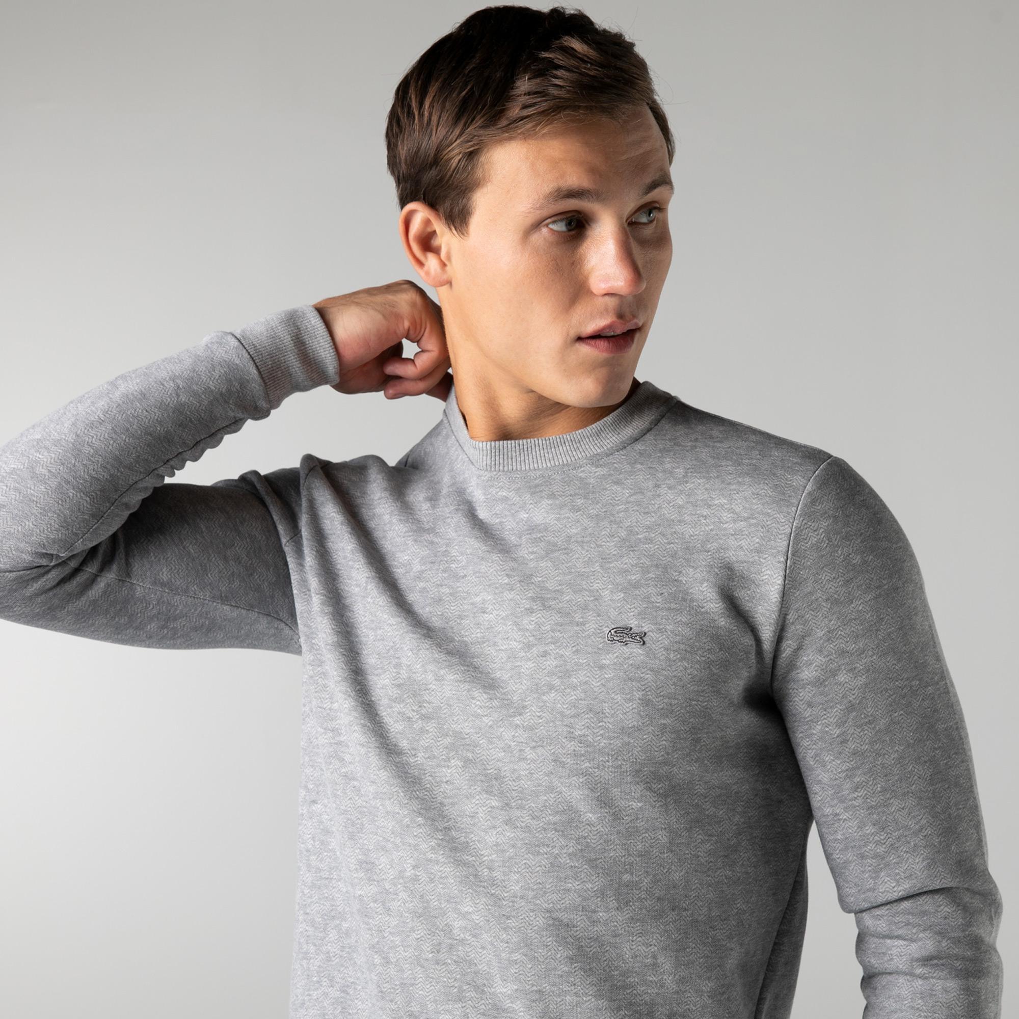 Lacoste Erkek Slim Fit Bisiklet Yaka Desenli Gri Sweatshirt