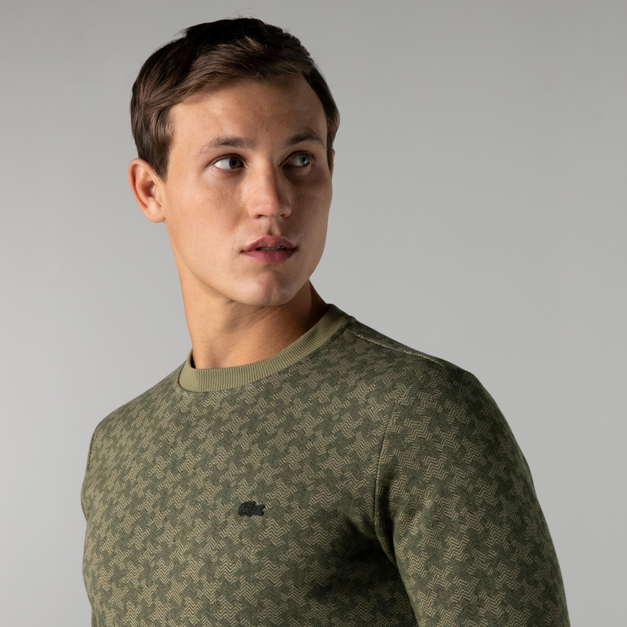 Lacoste Erkek Slim Fit Bisiklet Yaka Desenli Haki Sweatshirt