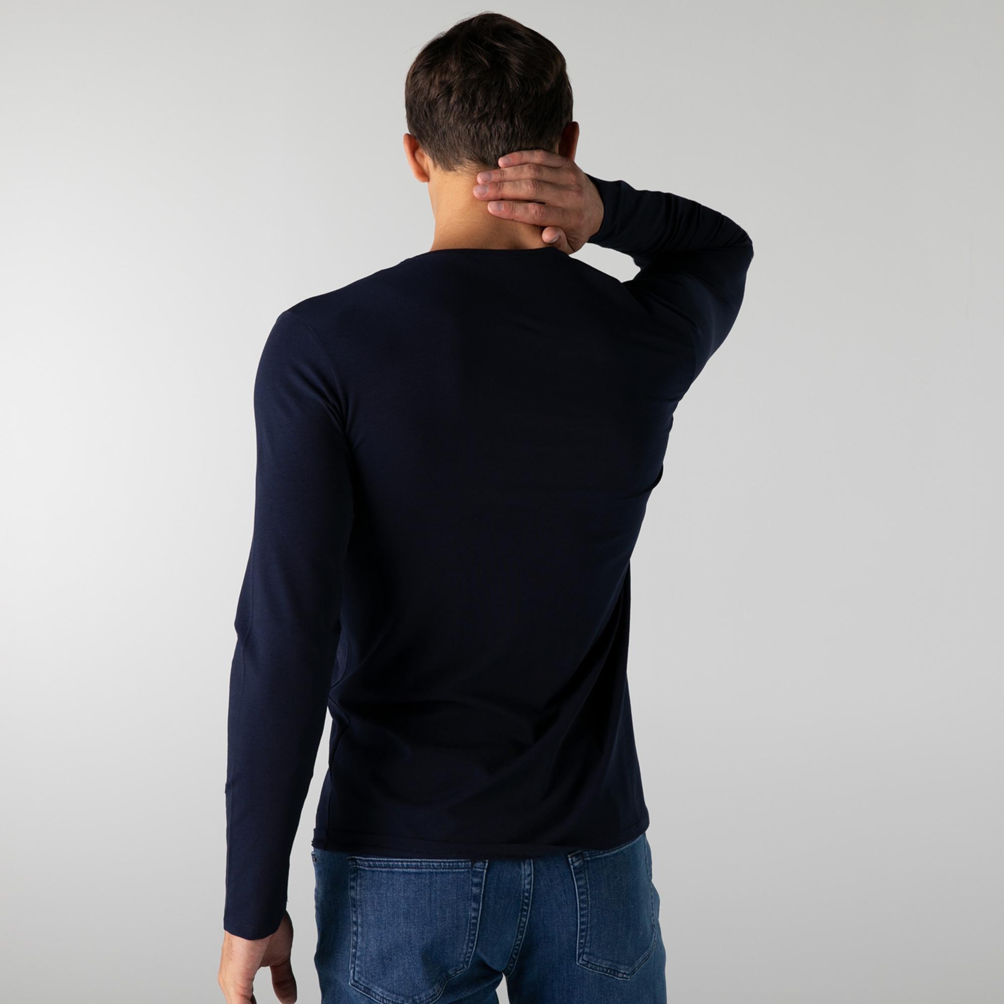 Lacoste Erkek Regular Fit Uzun Kollu V Yaka Lacivert T-Shirt
