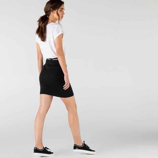 Lacoste Kadın Slim Fit Baskılı Siyah Etek
