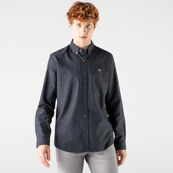 Lacoste Erkek Slim Fit Desenli Siyah Gömlek