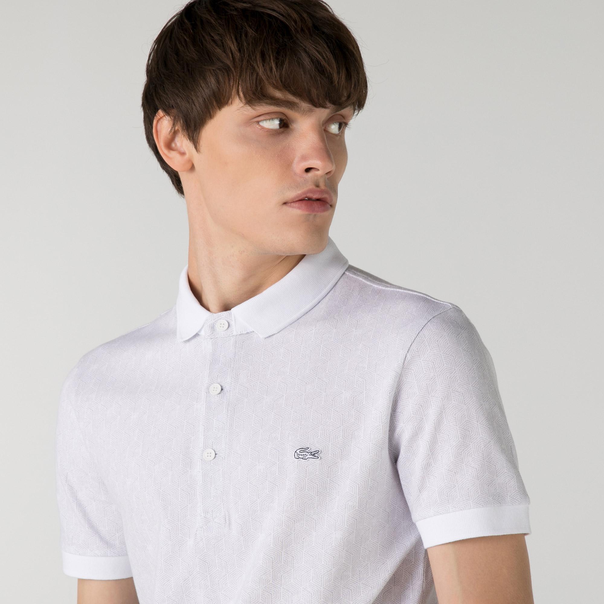 Lacoste Erkek Slim Fit Desenli Beyaz Polo