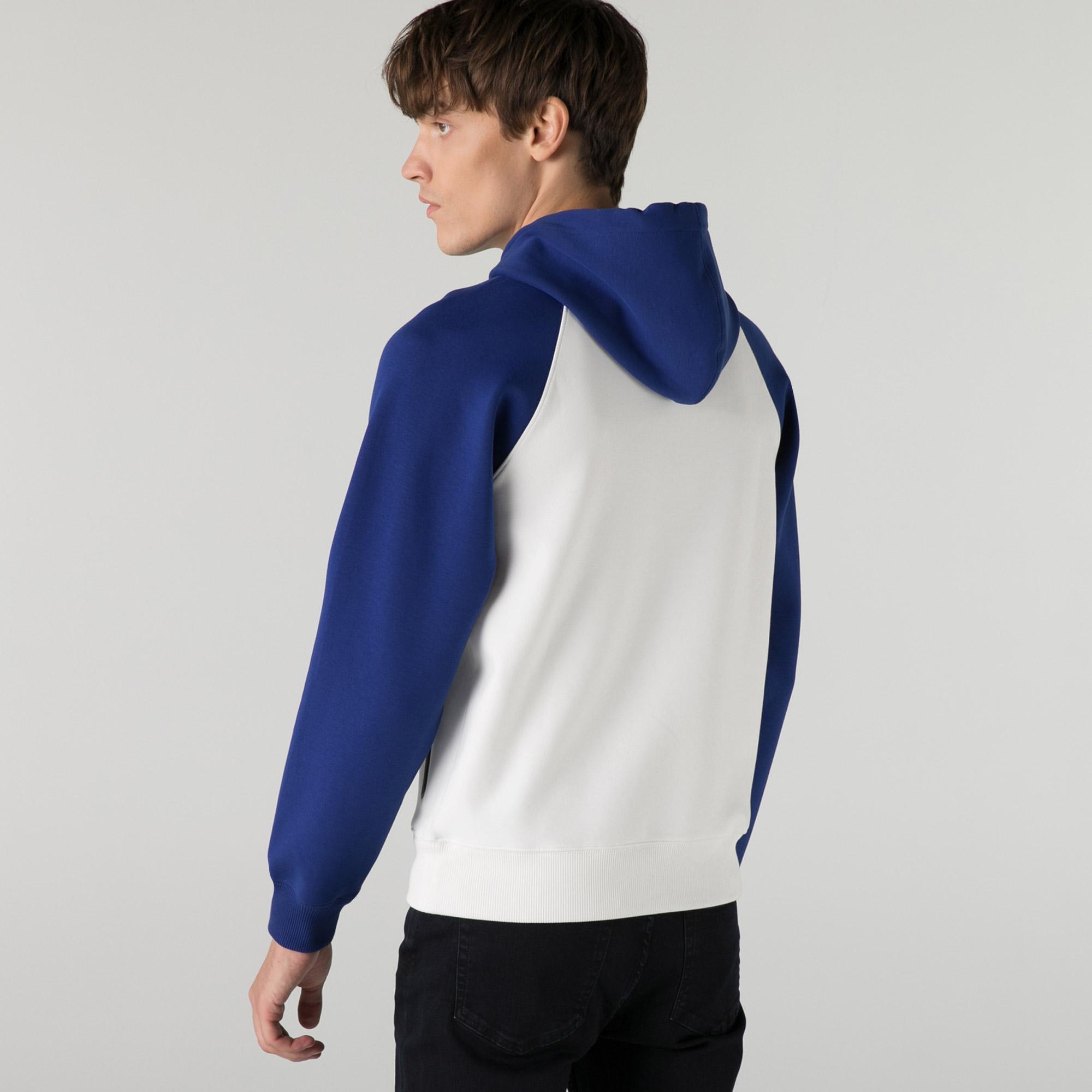 Lacoste Erkek Relaxed Fit Kapüşonlu Renk Bloklu Beyaz Sweatshirt