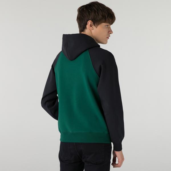 Lacoste Erkek Relaxed Fit Kapüşonlu Renk Bloklu Koyu Yeşil Sweatshirt