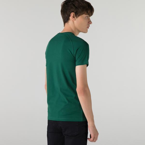 Lacoste Erkek Slim Fit Bisiklet Yaka Baskılı Yeşil T-Shirt