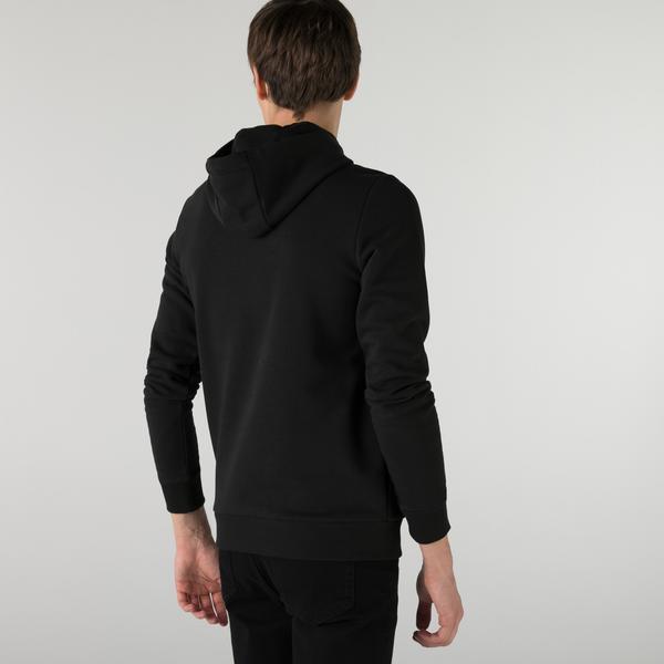 Lacoste Erkek Slim Fit Kapüşonlu Çizgili Siyah Sweatshirt