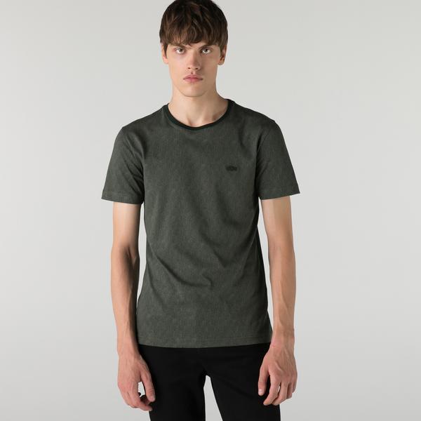 Lacoste Erkek Slim Fit Bisiklet Yaka Desenli Yeşil T-Shirt