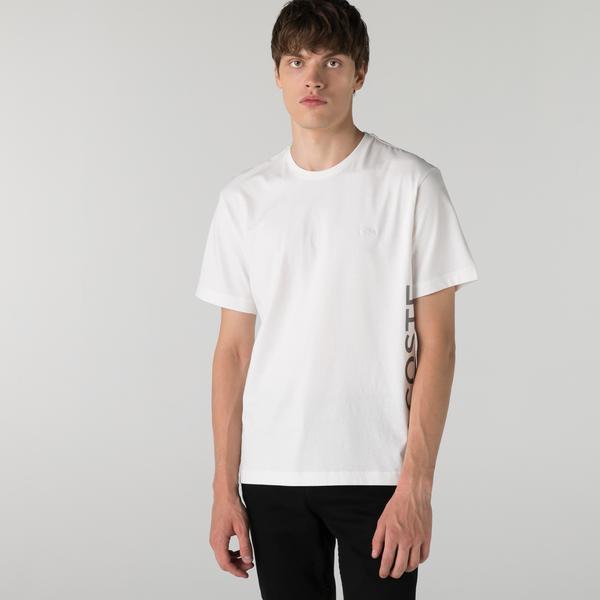 Lacoste Erkek Relaxed Fit Bisiklet Yaka Baskılı Beyaz T-Shirt