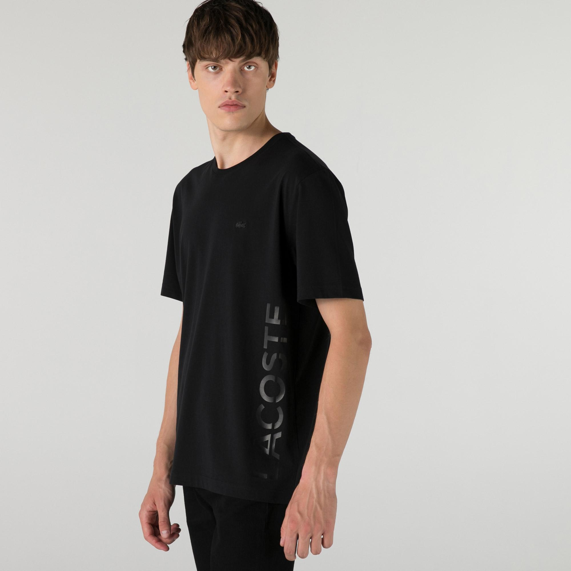 Lacoste Erkek Relaxed Fit Bisiklet Yaka Baskılı Siyah T-Shirt