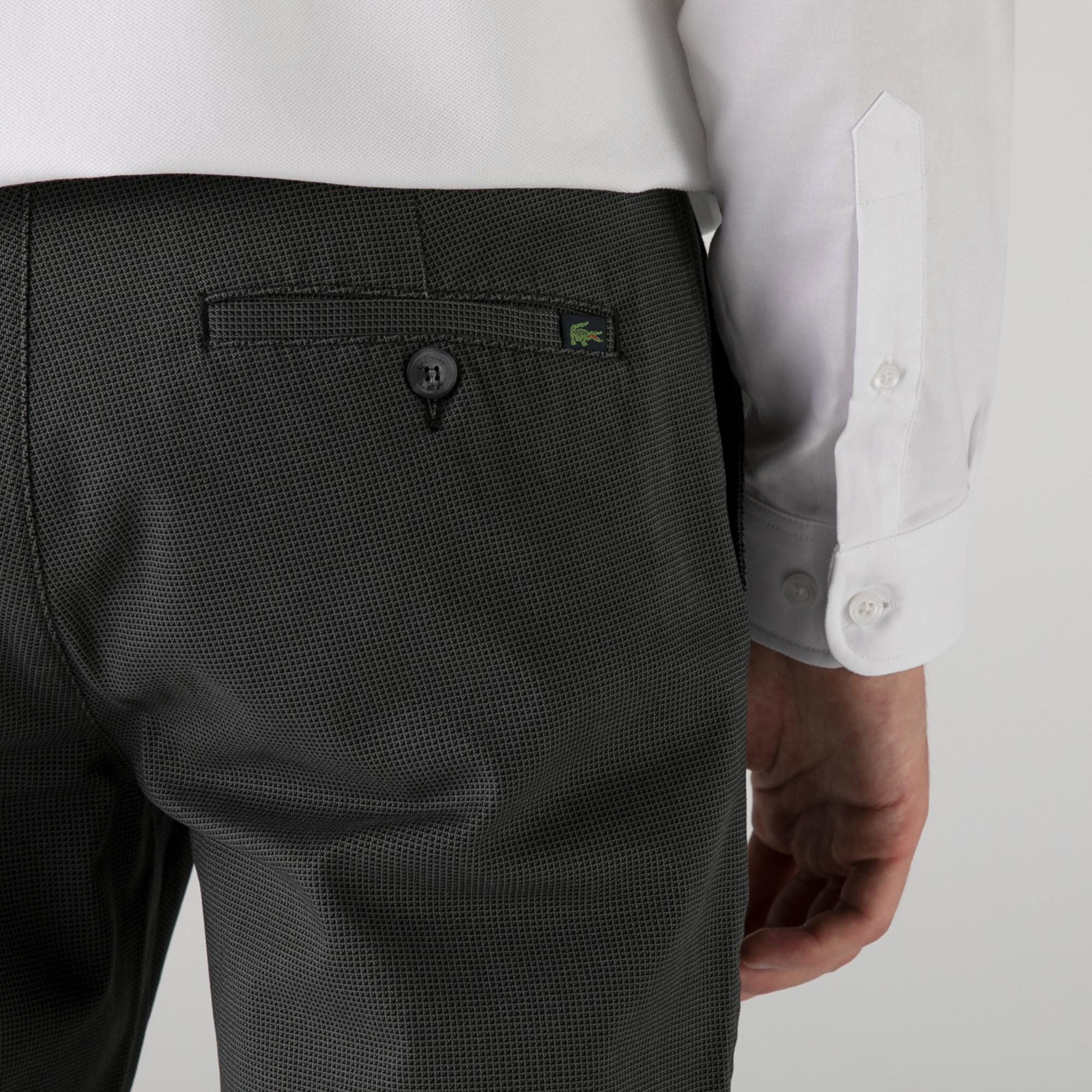 Lacoste Erkek Slim Fit Desenli Siyah Pantolon