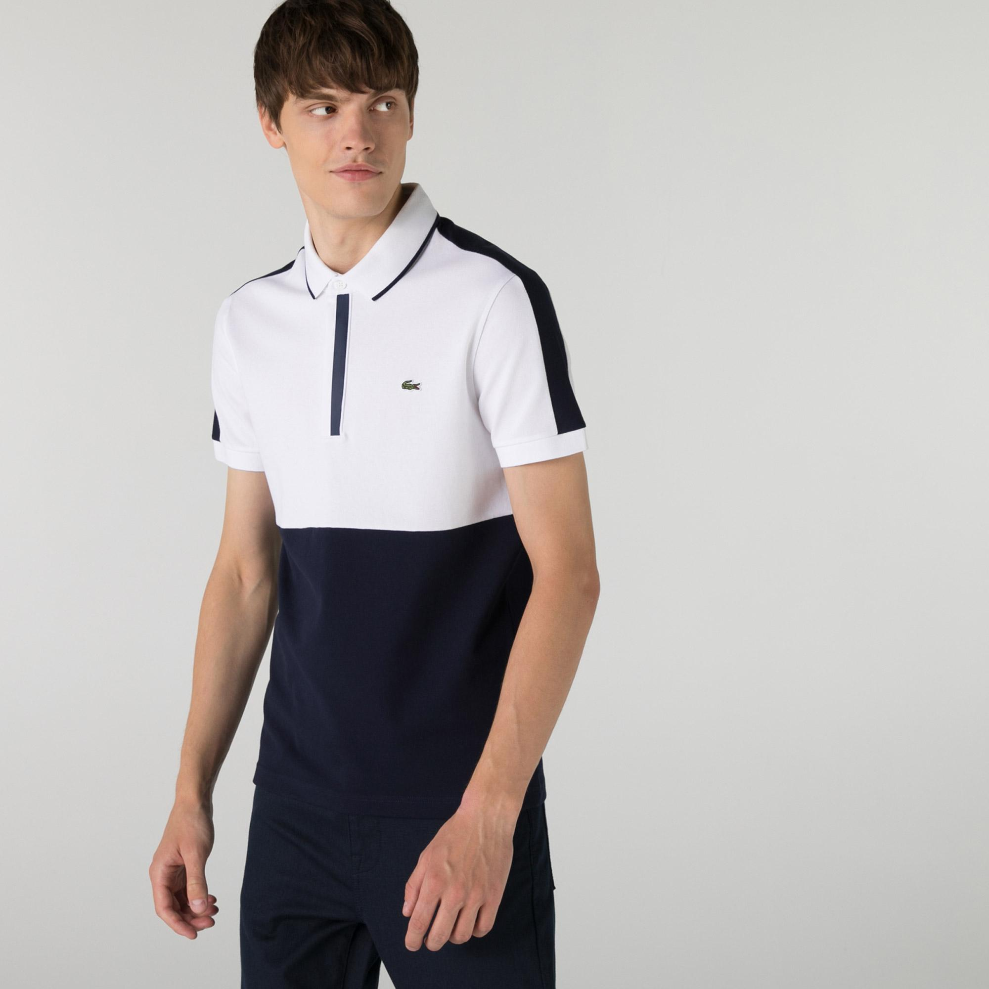Lacoste Erkek Regular Fit Renk Bloklu Beyaz Polo