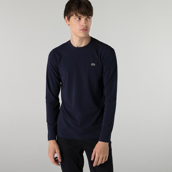 Lacoste Erkek Regular Fit Uzun Kollu Bisiklet Yaka Lacivert T-Shirt