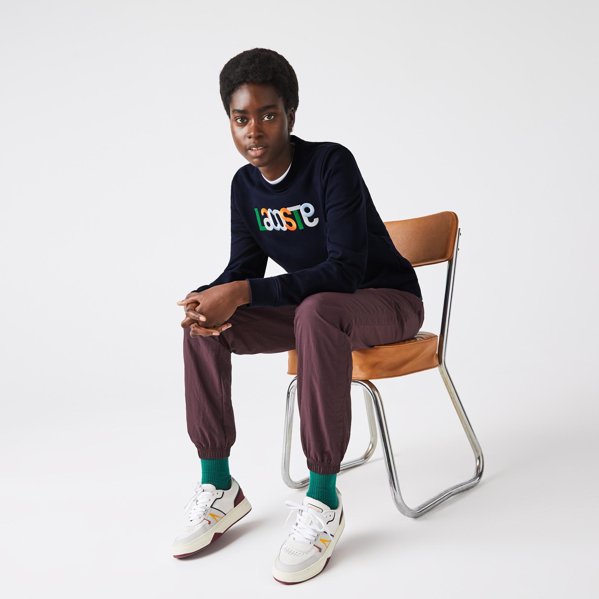 Lacoste Kadın Regular Fit Bisiklet Yaka Desenli Lacivert Sweatshirt