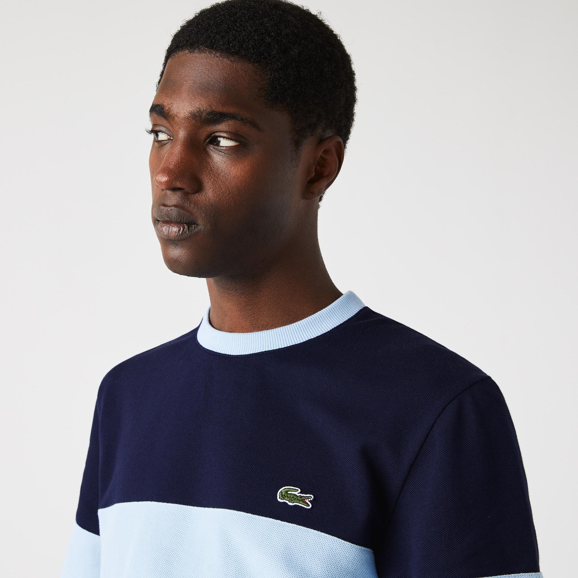 Lacoste Heritage Erkek Regular Fit Bisiklet Yaka Renk Bloklu Mavi T-Shirt