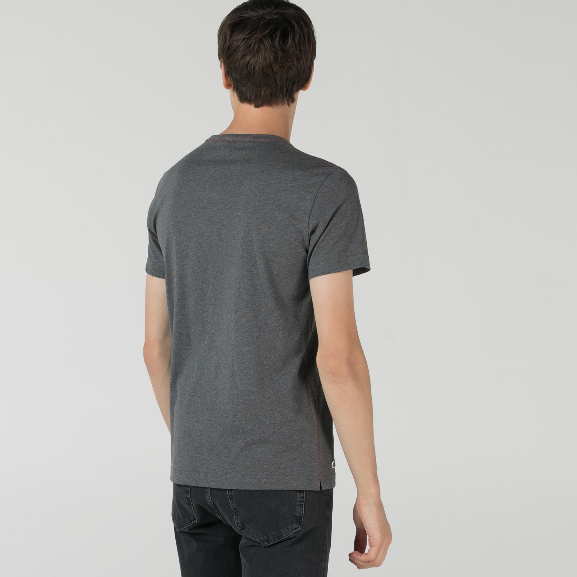Lacoste Erkek Slim Fit Bisiklet Yaka Baskılı Koyu Gri T-Shirt
