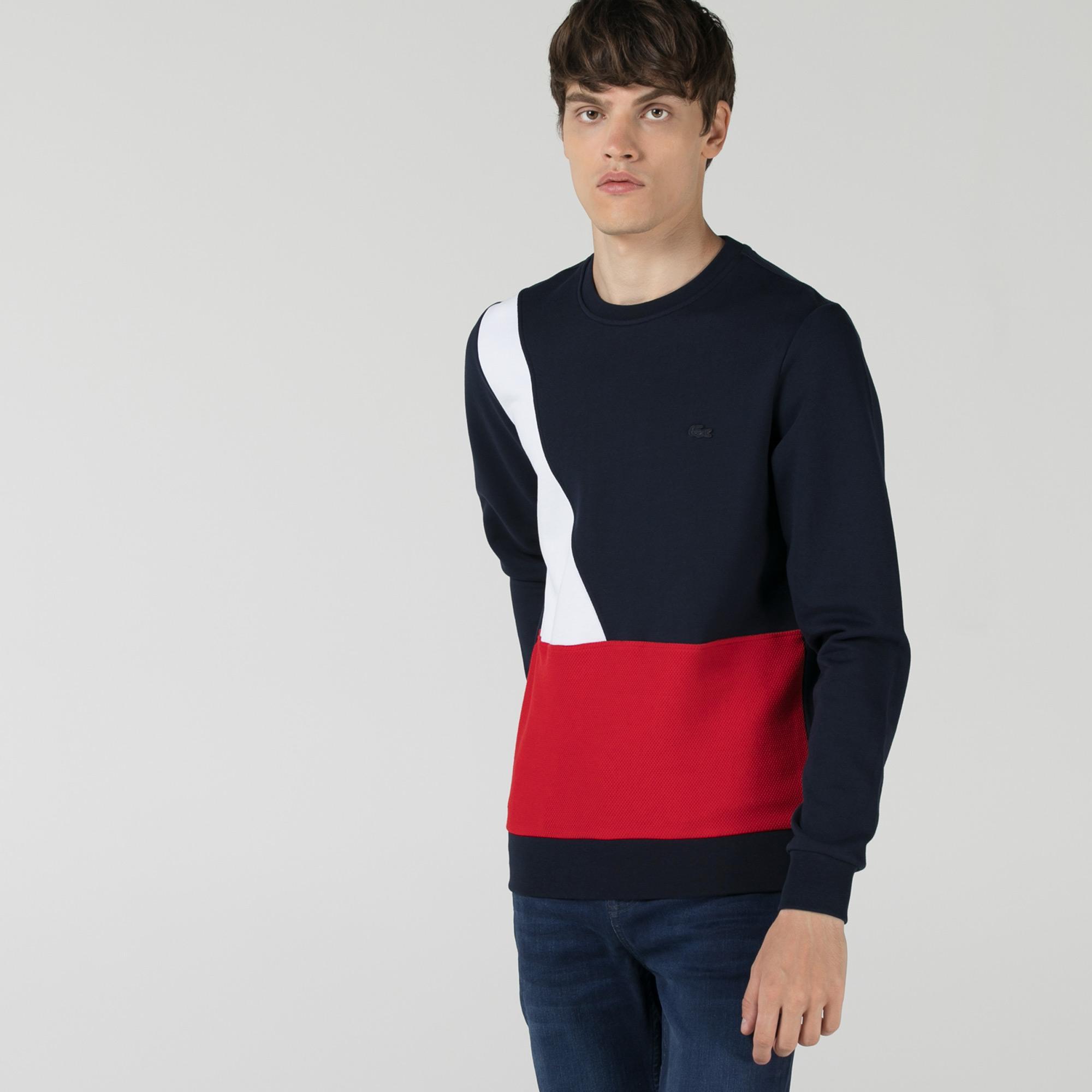 Lacoste Erkek Slim Fit Bisiklet Yaka Renk Bloklu Lacivert Sweatshirt