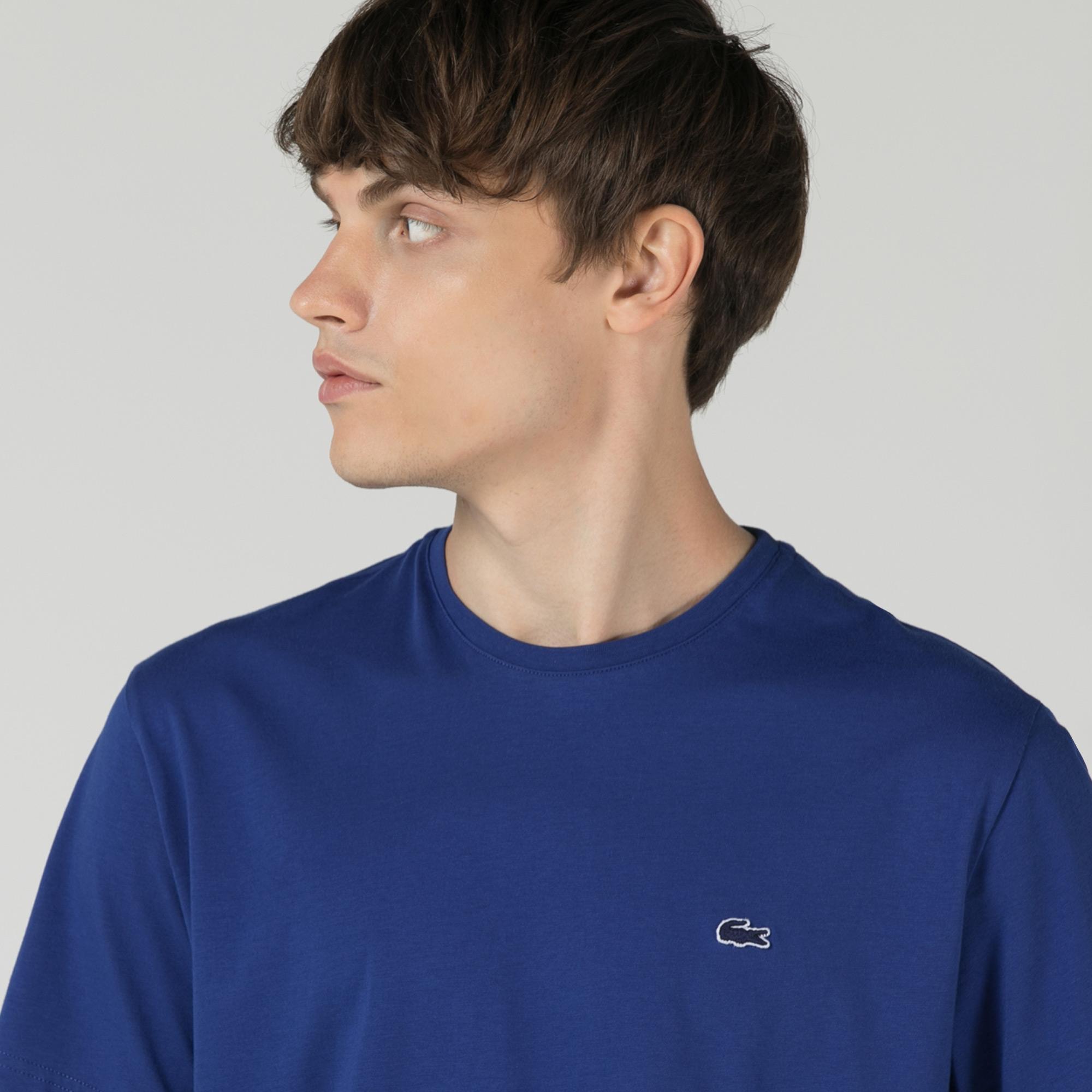 Lacoste Erkek Relaxed Fit Bisiklet Yaka Baskılı Mavi T-Shirt