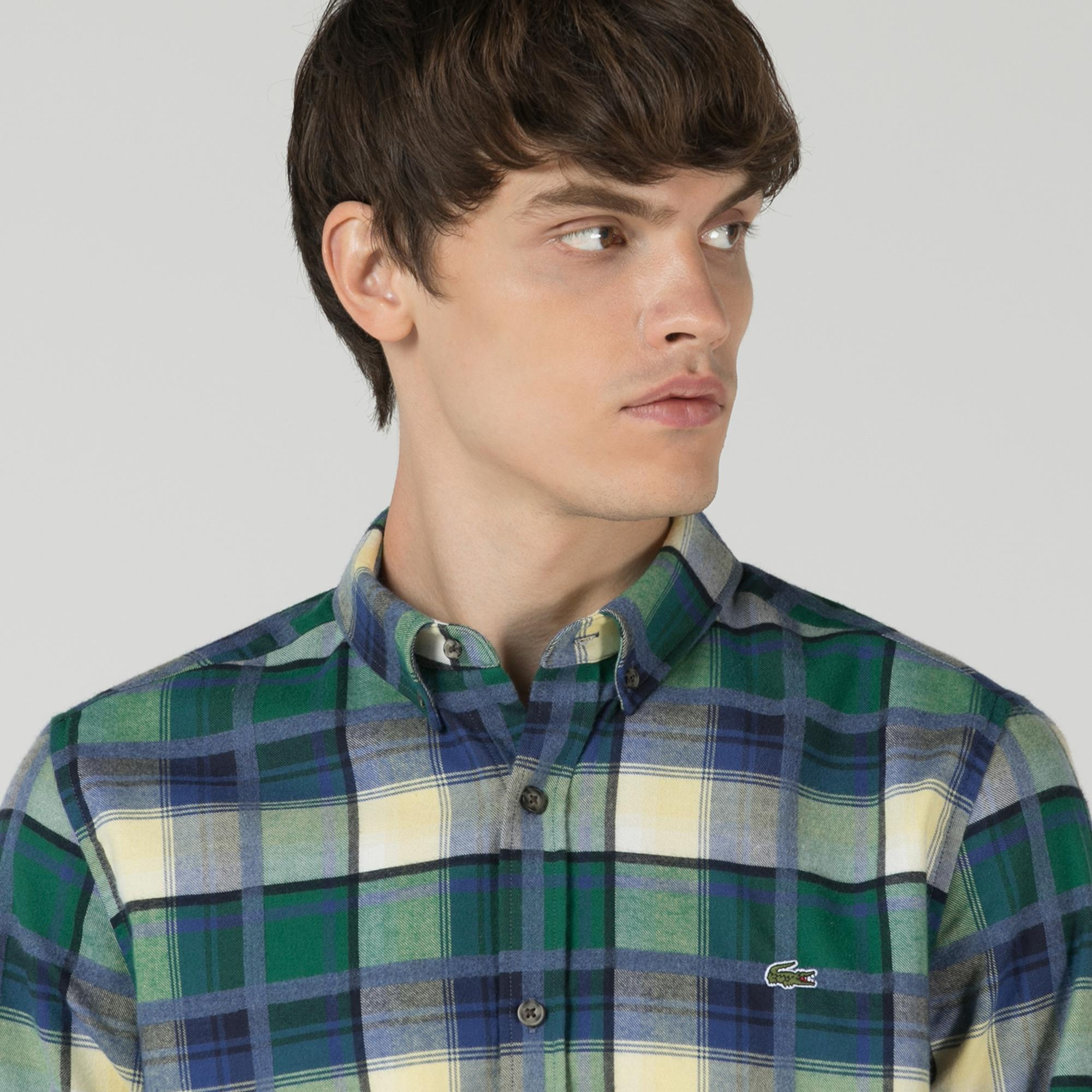 Lacoste Erkek Slim Fit Ekose Renkli Gömlek