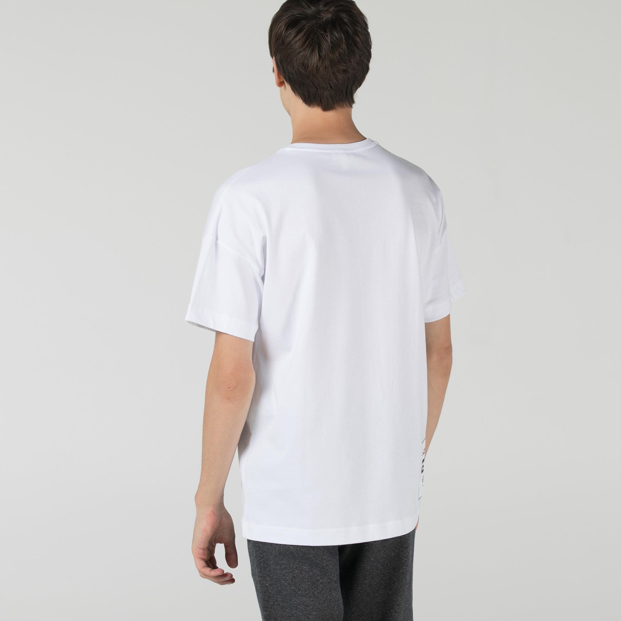 Lacoste Erkek Relaxed Fit Bisiklet Yaka Beyaz T-Shirt