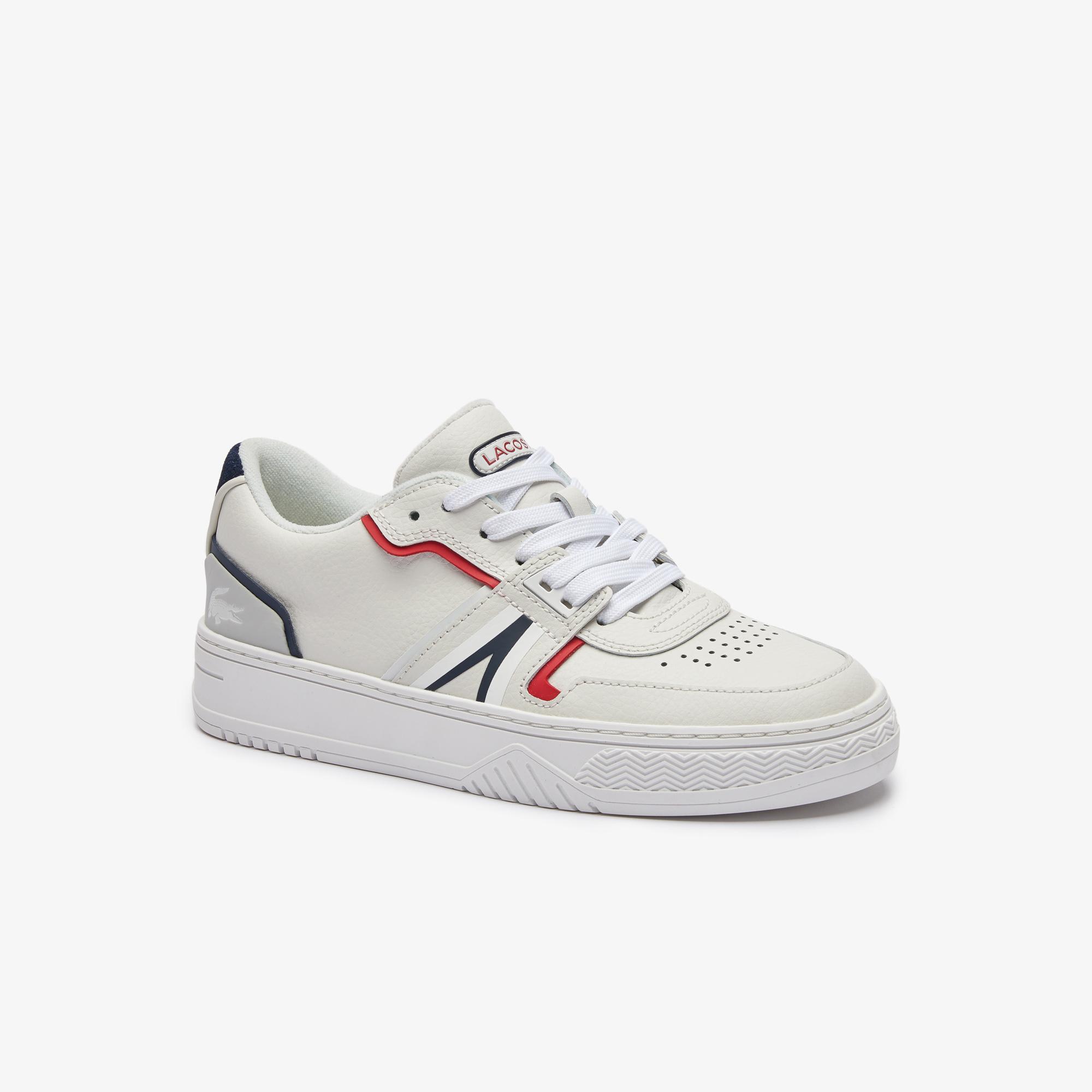 Lacoste L001 0321 1 Sfa Kadın Deri Beyaz - Lacivert- Kırmızı Sneaker
