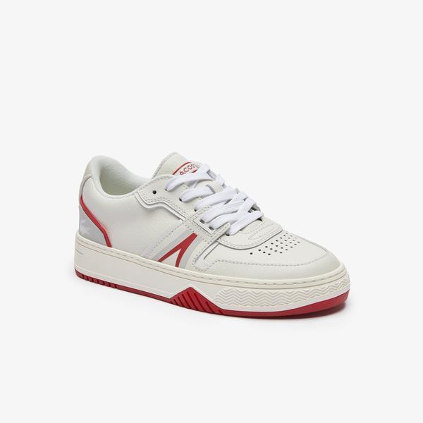 Lacoste L001 0321 1 Sfa Kadın Deri Beyaz - Kırmızı Sneaker