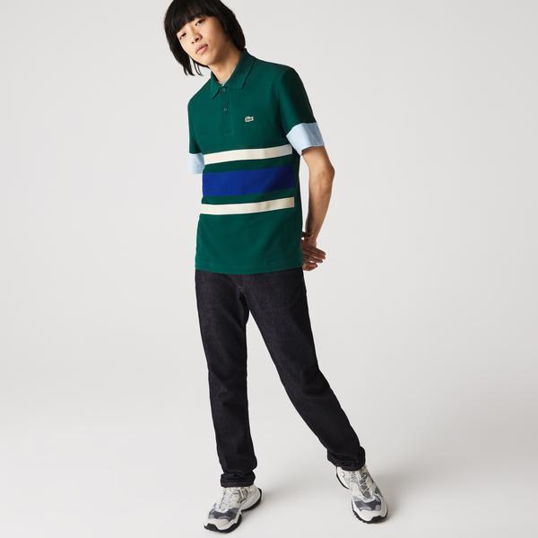 Lacoste Heritage Erkek Slim Fit Renk Bloklu Yeşil Polo