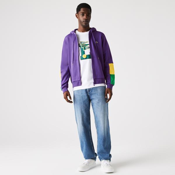 Lacoste Erkek Classic Fit Fermuarlı Renk Bloklu Mor Sweatshirt