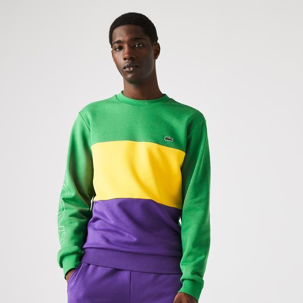 Lacoste Erkek Classic Fit Bisiklet Yaka Renk Bloklu Yeşil Sweatshirt
