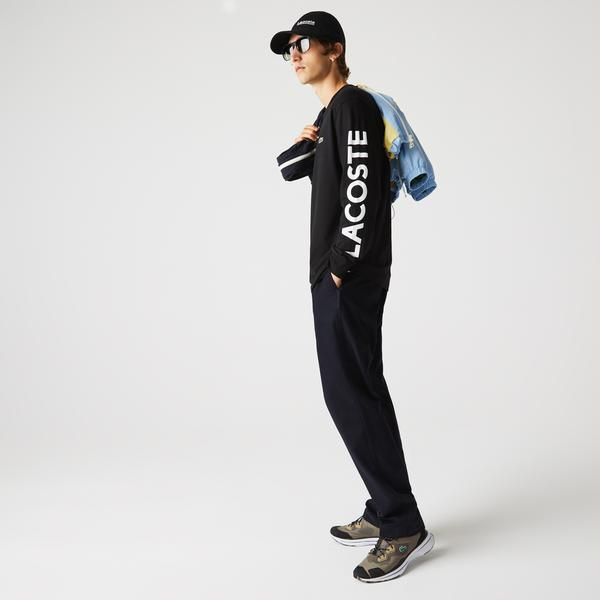 Lacoste Erkek Relaxed Fit Uzun Kollu Bisiklet Yaka Baskılı Siyah T-Shirt