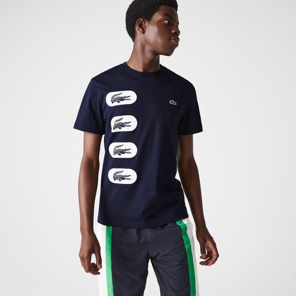 Lacoste Erkek Regular Fit Bisiklet Yaka Baskılı Lacivert T-Shirt
