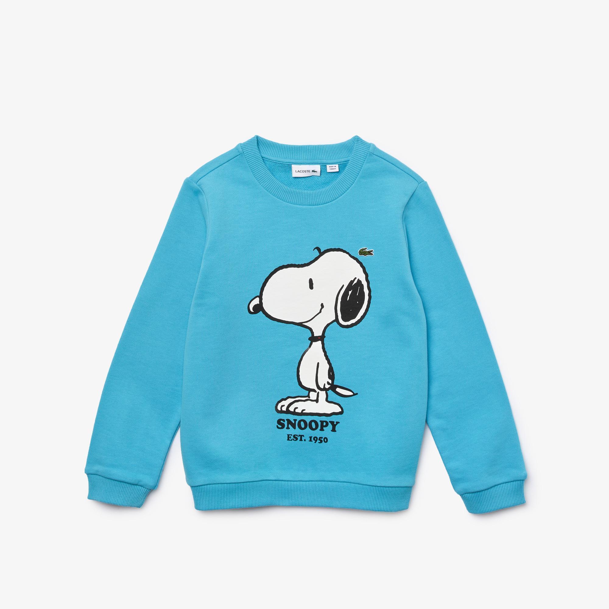 Lacoste X Peanuts Erkek Çocuk Bisiklet Yaka Baskılı Mavi Sweatshirt