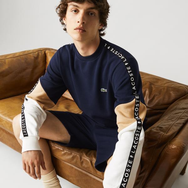 Lacoste Erkek Classic Fit Bisiklet Yaka Baskılı Renk Bloklu Lacivert Sweatshirt