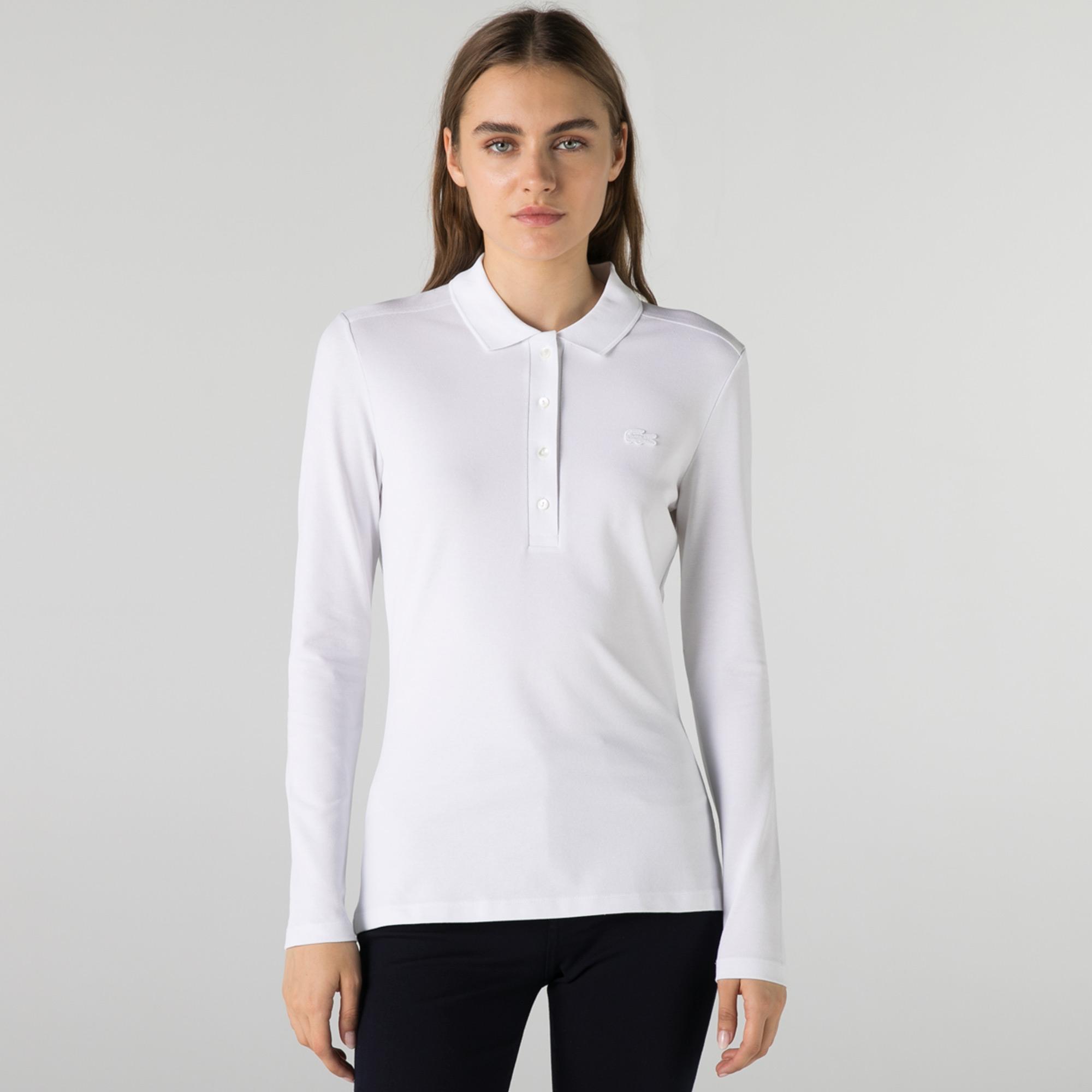 Lacoste Kadın Slim Fit Uzun Kollu Beyaz Polo
