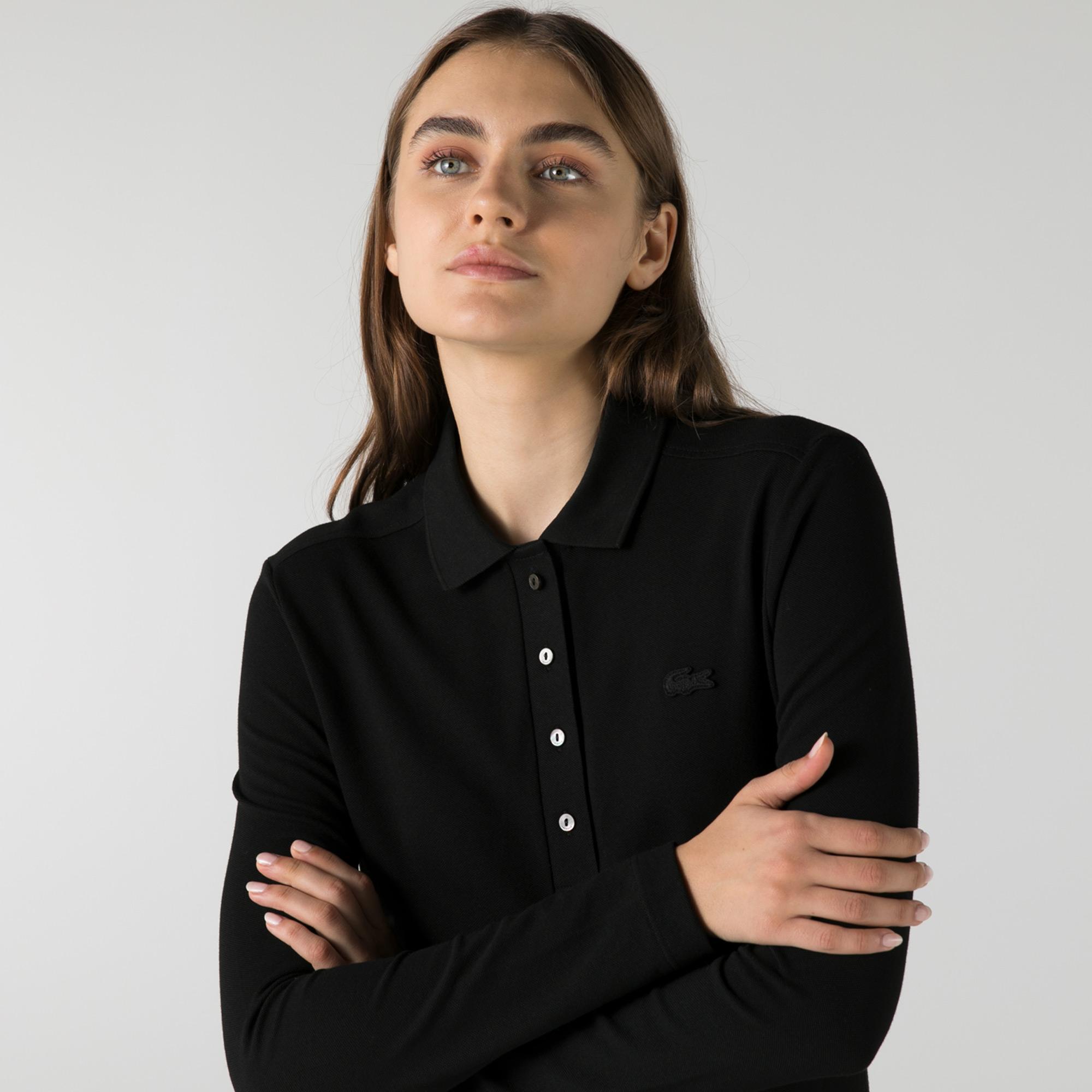Lacoste Kadın Slim Fit Uzun Kollu Siyah Polo