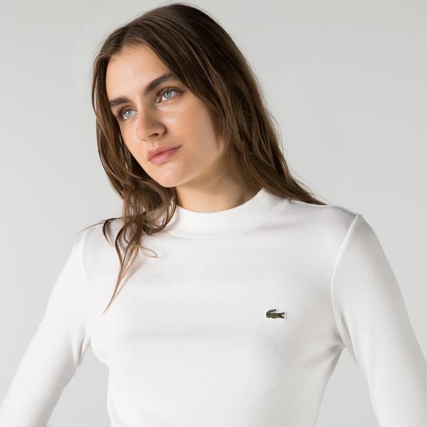 Lacoste Kadın Slim Fit Uzun Kollu Boğazlı Yaka Beyaz T-Shirt