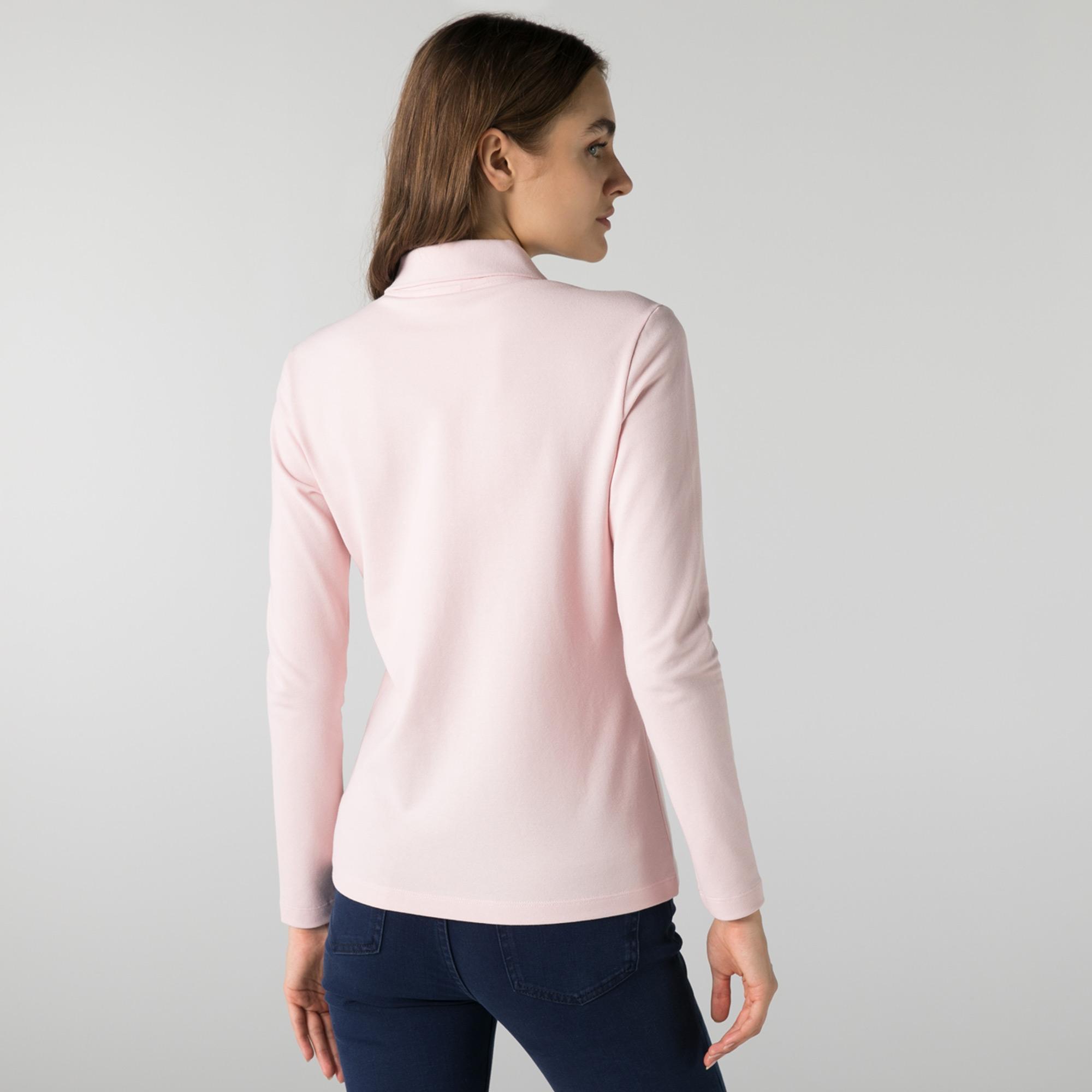 Lacoste Kadın Slim Fit Uzun Kollu Açık Pembe Polo