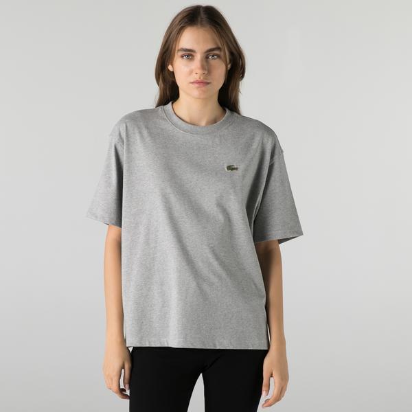 Lacoste L!VE Kadın Boxy Fit Bisiklet Yaka Gri T-Shirt