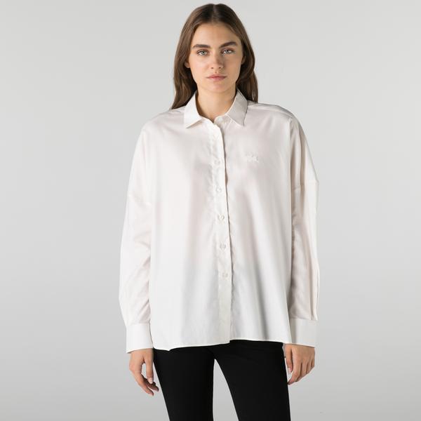 Lacoste Kadın Relaxed Fit Beyaz Gömlek